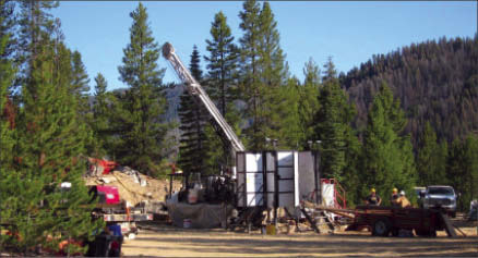 Drilling at Midas Gold's Golden Meadows gold project in Idaho. Photo by Midas Gold