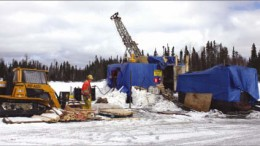 A driller at Gold Canyon Resources' Springpole gold project in northwestern Ontario. Photo by Gold Canyon Resources