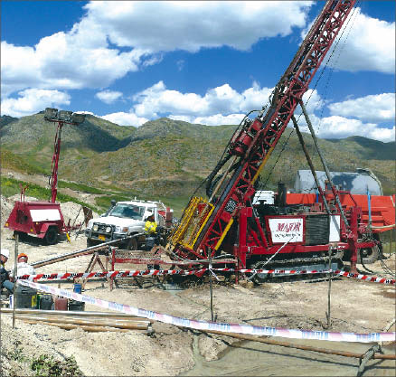 Drillers at Orsu Metals' Karchiga copper project in northeastern Kazakhstan, 40 km west of the China border. Photo by Orsu Metals