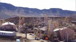 Production facilities at Molycorp's Mountain Pass REE mine in southeastern California. Photo by Trish Saywell