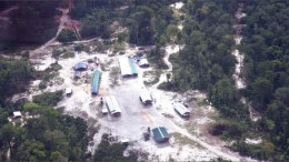 An aerial view of the camp at First Bauxite's Bonasika bauxite project near Guyana's coast. Photo by First Bauxite