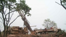 Drillers by a rig at African Gold Group's Kobada gold project in Mali's Kangaba region. Photo by African Gold Group