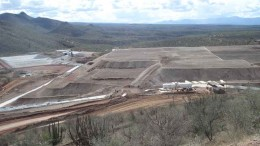 A leach pad, tailing ponds and other processing facilities at Silvercrest Mines' Santa Elena gold-silver mine in Hermosillo, Mexico - one of Sandstorm Gold's producing gold streams. Photo by Silvercrest Mines