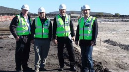 At Platinum Group Metals' Western Bushveld joint-venture platinum project in South Africa, from left: senior geologist Thys Botha, COO Peter Busse, CEO R. Michael Jones and CFO Frank Hallam. Photo by Platinum Group Metals