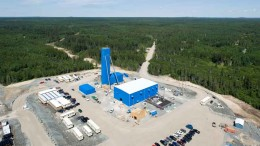 An aerial view of the headframe and surface facilities at Lake Shore Gold's Timmins West gold mine in Ontario. Photo by Lake Shore Gold