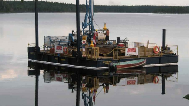 Working on one of Rodren Drilling's barges at Gold Canyon Resources' Springpole gold project in northwest Ontario. Photo by Rodren Drilling