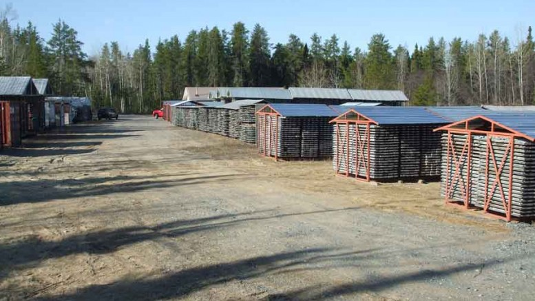 The core shack at Moneta Porcupine Mines' Golden Highway project, 100 km east of Timmins, Ont., holds more than 250 km of historical core. Photo by Moneta Porcupine mines