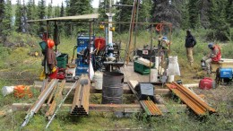 Drillers at a drill pad at the Ashram zone at Commerce Resources' Eldor REE project in northern Quebec in 2012. Credit: Commerce Resources.