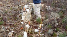GTA Resources vice-president of exploration Robert Duess inspects a sample from the Caly vein at the Northshore gold project in Ontario. Photo by GTA Resources