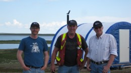 From left: Geologist Jacques Stacey, exploration manager Bill Cronk and COO Andrew Berry, in front of the Nutaaq Camp at Kivalliq Energy's Angilak uranium project in Nunavut. Photo by Kivalliq Energy