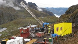 Drillers at work at Lupaka Gold's flagship Crucero gold project in Peru 850 km southeast of the capital Lima. Photo by Lupaka Gold