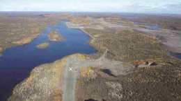 A view of the airstrip at the Colomac project, part of Nighthawk Gold's Indin Lake gold property in the Northwest Territories 220 km north of Yellowknife. Photo by Nighthawk Gold