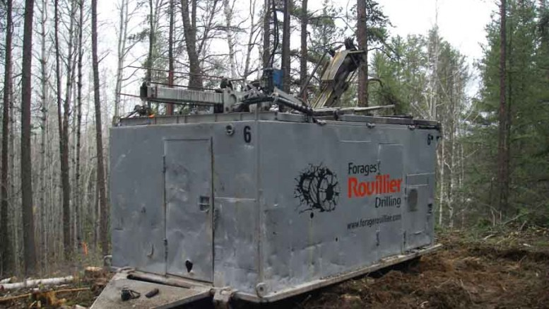 A drill rig at Midland Exploration's Patris gold project, 30 km northeast of Rouyn-Noranda in Quebec. Photo by Midland Exploration