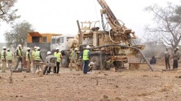 Drillers in action at Riverstone Resources' Karma gold project in Burkina Faso. By Riverston Resources.
