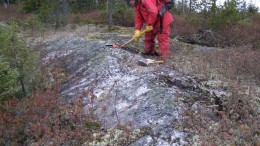 Consul-Teck Exploration president Jean-Raymond Lavalle exploring at Critical Elements' Rose tantalum-lithium project in Quebec. By Critical Elements.