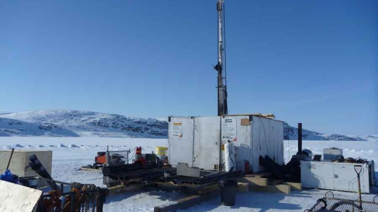 A drill rig used to target the CH-51 kimberlite at Peregrine Diamonds' Chidliak project in 2011. Source: Peregrine Diamonds