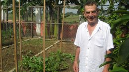 Former Bre-X Minerals vice-chairman John Felderhof in his backyard vegetable garden in the Philippines. Photo by Trish Saywell.