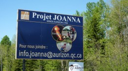 The sign for Aurizon's Joanna project. Source: Aurizon Mines