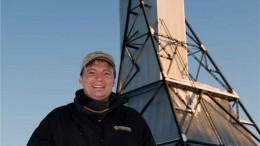 Ewan Downie, Premier Gold Mines CEO, near a historic headframe on the Trans-Canada gold project in northwestern Ontario. Source: Premier Gold Mines