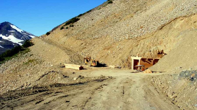 An adit at Sona Resources' Elizabeth gold project in British Columbia. Source: Sona Resources