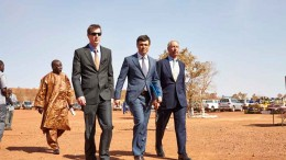 At the mid-January launch ceremony at the Bissa gold mine in Burkina Faso, from front left: Matthew Wilcox, Bissa Gold general director; Nikolai Zelensky, Nordgold CEO; and Philip Baum, Nordgold chairman. Source: Nordgold
