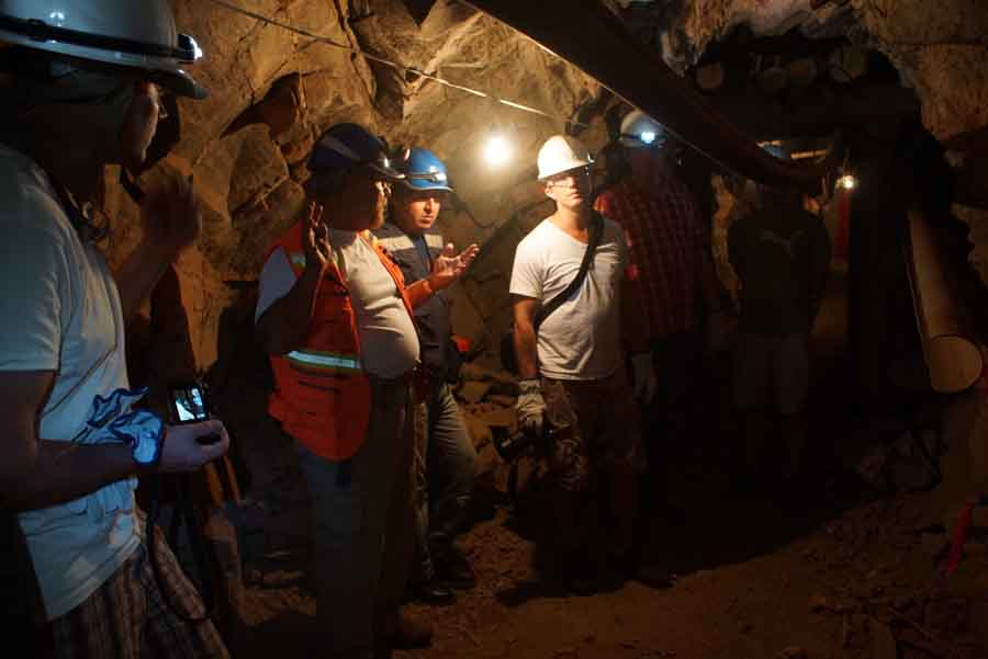 Consulting geologist John Buckle (second from left) takes a group of investors on a tour of the underground workings at Inca One Resources' newly acquired Corizona gold project in Peru. Source: Inca One Resources