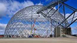 An ore-storage dome under construction at Detour Gold's Detour Lake gold mine in Ontario. Photo by Graeme Oxby