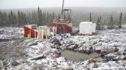 A driller battles the elements at Champion Iron Mines' Fire Lake North iron ore project in the Labrador Trough. Source: Champion Iron Mines