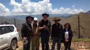 All smiles at Panoro Minerals' Cotabambas copper project in Peru, from left: Yves Barsimantov, vice-president of operations; a local employee; David Huber, CFO; Luquman Shaheen, CEO; and Adriana Luque, community relations manager. Photo by Matthew Keevil