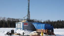 Vertical drilling on the ice at Gold Canyon's Springpole project. Source: Gold Canyon Resources