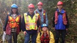 At Rapier Gold's Pen gold project, 75 km southwest of Timmins, Ontario, from left: project manager Mary Stalker, president Roger Walsh and consulting geologists Pat Pope, David Gliddon (crouching) and Gary Wong. Source: Rapier Gold