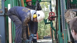Drillers at work at Edgewater Exploration's Corcoesto gold project in northwestern Spain. Photo by Matthew Keevil
