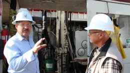 Areva Resources Canada geologist John Robbins (left) and UEX CEO Graham Thody at the Shea Creek uranium project in Saskatchewan. Source: UEX