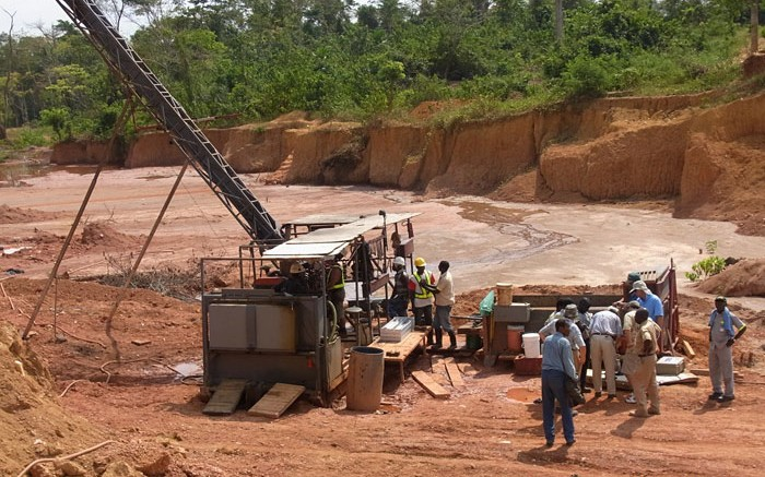 Drilling equipment at PMI Gold's Obatan gold project. Source: PMI Gold