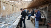 Visitors in the core shack at Integra Gold's Lamaque gold project near Val-d'Or, Quebec. Credit: Integra Gold.
