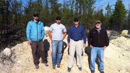 The discovery team at Denison Mines' Wheeler River uranium project in Saskatchewan, from left: Clark Gamelin, senior project geologist; Chad Sorba, senior project geologist; Lawson Forand, exploration manager; and Larry Petrie, senior geophysicist. Source: Denison Mines