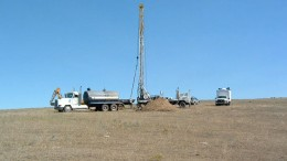 A drill rig  at Powertech Uranium's Aladdin project in northeast Wyoming (2007). Source: Powertech Uranium