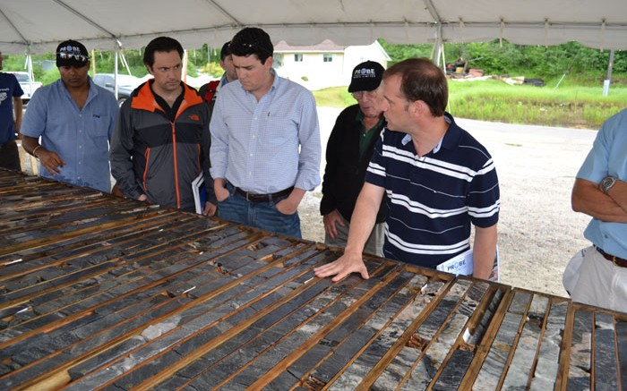 Probe Mines CEO David Palmer (far right) leads a tour of the Borden gold project in northern Ontario. Source: Probe Mines