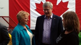 At the funding announcement for the Centre for Northern Innovation in Mining (CNIM) at Yukon College, from left: Yukon College president Karen Barnes, Prime Minister Stephen Harper and CNIM executive director Shelagh Rowles. Source: Yukon College
