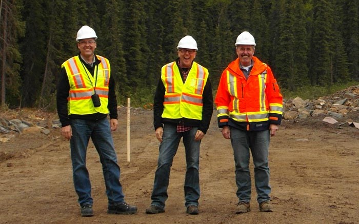 From left: Imperial Metals' VP of corporate affairs Steve Robertson, VP of corporate development Gordon Keevil and construction manager Bryan Alexander near the tailings facility under construction at the Red Chris copper-gold project in northwestern B.C. Photo: Gwen Preston
