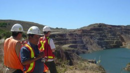 Mining engineers survey the landscape at B2Gold's  Limon property in Nicaragua. Source: B2Gold