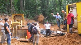 Columbus Gold CEO Robert Giustra (second from right) and country manager Andre Adam (third from right) address visitors at a drill site at the Paul Isnard gold project in northwest French Guiana. Source:  Columbus Gold