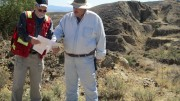 Defiance Silver CEO Bruce Winfield (left) and vice-president of exploration Richard Tschauder in front of the surface trace of the Veta Grande vein at the San Acacio silver project in Mexico's Zacatecas state. Photo by Salma Tarikh.