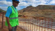 Agnico Eagle Mines CEO Sean Boyd checks out the heap-leach pad at the new La India gold mine in Sonora, Mexico. Photo by Salma Tarikh.