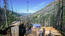 Drillers at Brixton Metals' Thorn polymetallic project, 130 km southeast of Atlin, B.C. Hecla Mining has a 20% stake in Brixton. Credit: Brixton Metals