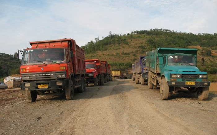 Trucks used to haul ore from the Ying mine to the mill. Credit: Silvercorp Metals