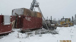 A drill rig at TomaGold's Monster Lake gold project, 4 km southwest of Chibougamau, Quebec. Credit: TomaGold