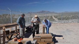 Geologists inspecting core at Castle Mountain Mining's namesake gold project in San Bernardino County, California. Credit: Castle Mountain Mining