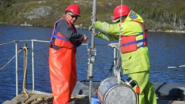 Workers conduct vibracore drilling on a tailings pond at Coastal Gold's Hope Brook gold project in Newfoundland. Credit: Coastal Gold