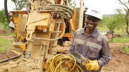 A worker at Ampella Mining's Batie West project in Burkina Faso. Credit: Ampella Mining